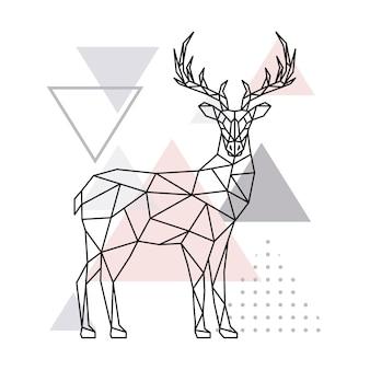 スカンジナビアの幾何学的な鹿、側面図。