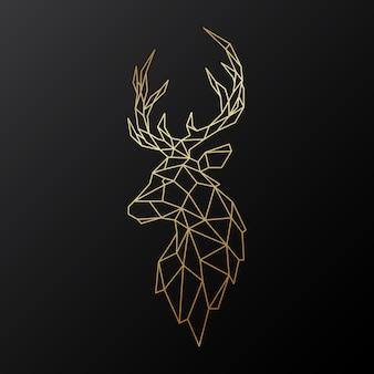 Золотой полигональный олень.