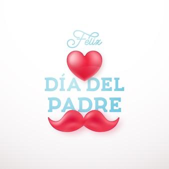 Счастливая поздравительная открытка дня отца с сердцем и усами.