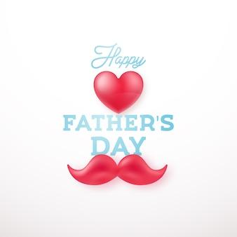 Поздравительная открытка с символами сердца и усы.