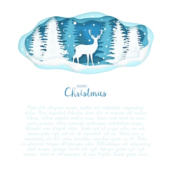 紙の冬の森の鹿のスタイルをカットします。