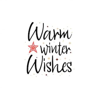 暖かい冬の願い。ホリデーバナー - 新年のスローガン
