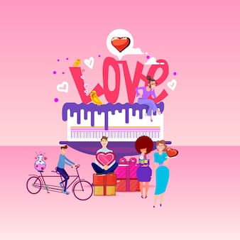 Люблю надпись на большом торте и маленьких людях вокруг.