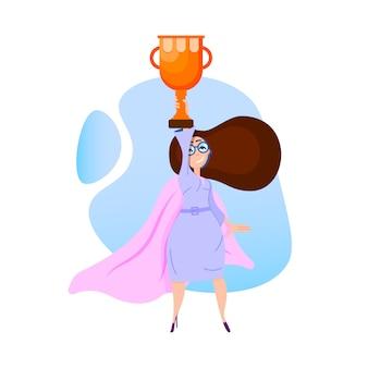 女性スーパーヒーローリーダーとカップ