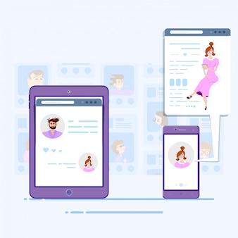 Социальные сети концепция планшета общения людей