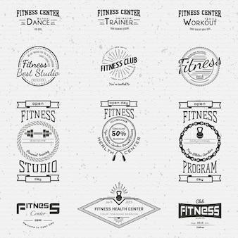 Фитнес клуб значки логотипы и наклейки для любого использования