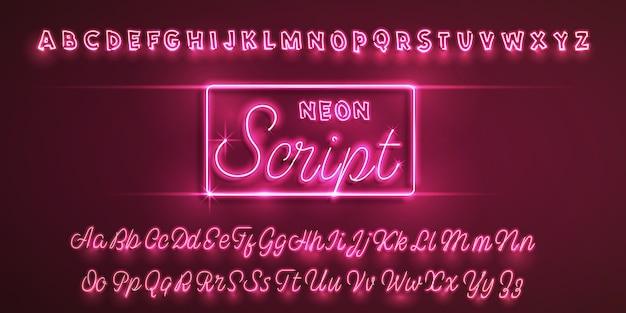 Латинский неоновый шрифт.