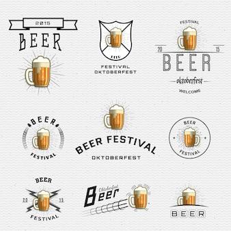 ビール祭りのバッジロゴとラベルの使用