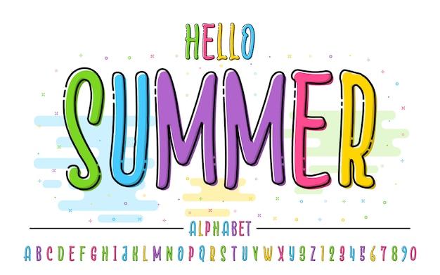 Латинский цветной алфавит. привет лето шрифт в милый мультфильм плоский стиль. для вашего дизайна
