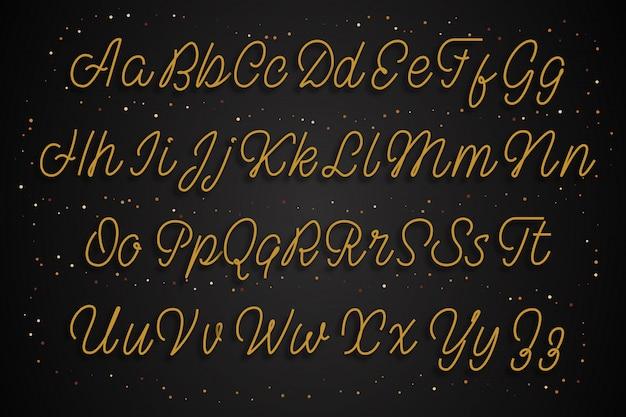 ラテンゴールドのアルファベット。