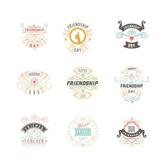 幸せな友情の日。ベクトル表記上のカラフルなデザイン。バッジ
