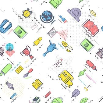 教育の概念手で学校の背景には学用品が描かれています。