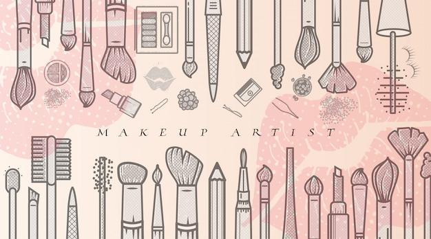 メイクアップアーティストのイラスト。美容室のファッショントレンド。事業コンセプト