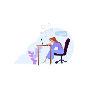 Женщины работают из дома или офиса на карантинных планшетах в масках, а также читают новости об экономике или короновирусе.