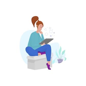 Женщина читает новости на планшете, садится на стул в карантине.