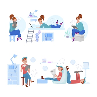 Молодые мужчины и женщины проводят все свое время в интернете, учатся, читают новости, играют, изолируют.