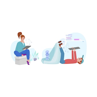 男性と女性はタブレットでニュースを見たり、社会的距離を維持したり、リモートで作業したりします