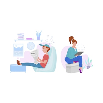 Мужчина и женщина смотрят новости на планшетах, поддерживают социальную дистанцию или работают удаленно