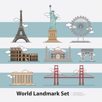 世界のランドマーク旅行イラストセット