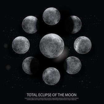 月の皆既日食イラスト