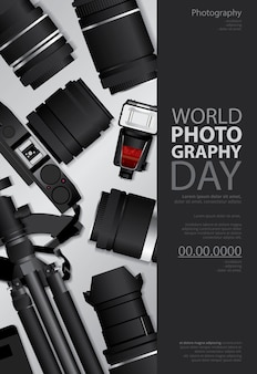 ポスター写真の日デザインテンプレートイラスト