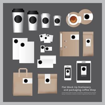 Плоский макет канцелярские товары и упаковка кофейня
