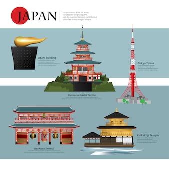 日本のランドマークと旅行のアトラクションベクトル図