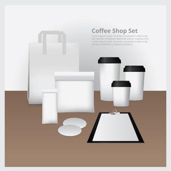 コーヒーショップセットモックアップベクトルイラスト