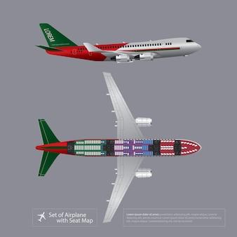 座席マップで飛行機のセットは、ベクトル図を分離