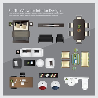 インテリアデザインのトップビューを設定します。分離されたイラスト