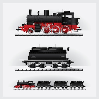 鉄道道路上の古典的な貨物列ベクトル図