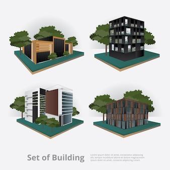 現代都市ビルディングパースペクティブベクトル図
