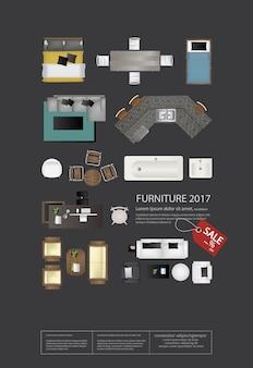 Плакат мебель продажа векторной иллюстрации