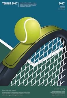 Теннисный турнир плакат векторная иллюстрация