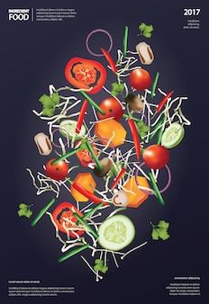フライング成分食べ物ベクトルイラスト