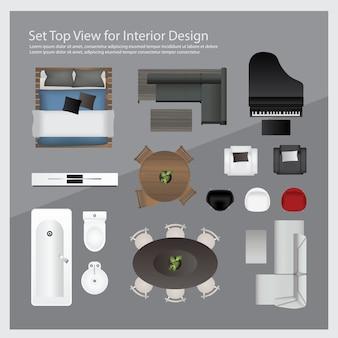 Установите вид сверху для дизайна интерьера. изолированные иллюстрации