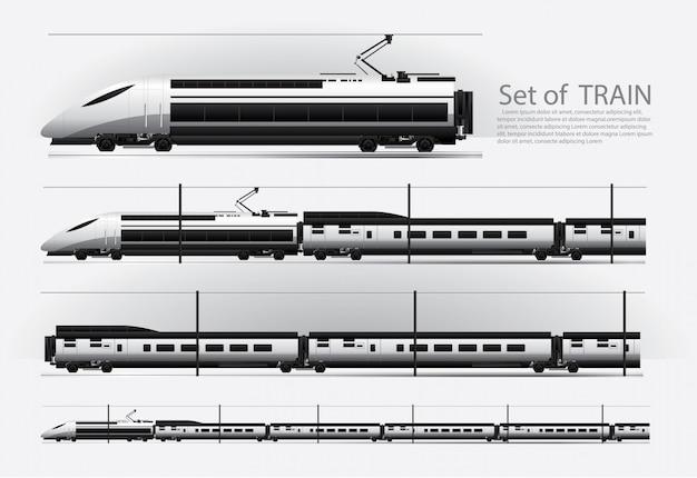 レール道路上の高速電車ベクトル図