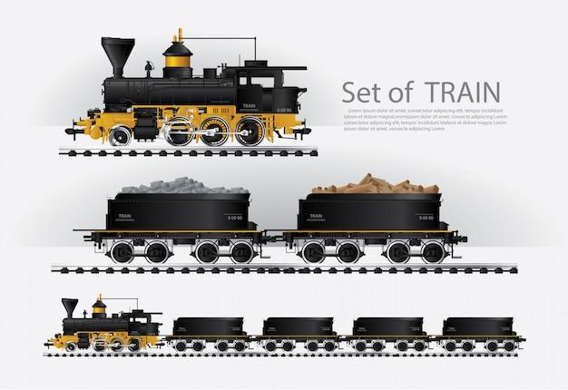 鉄道道路上の貨物列ベクトル図