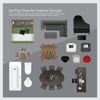 Установите вид сверху для дизайна интерьера. изолированных иллюстрация