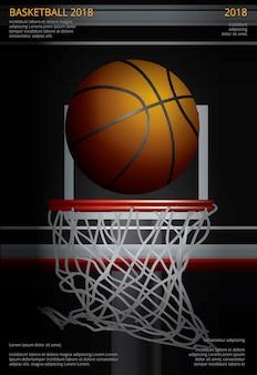 バスケットボールポスター広告ベクトルイラスト