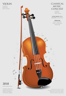 クラシック音楽のコンセプトバイオリンベクトル図