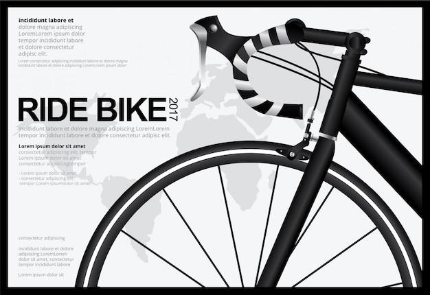 サイクリングポスターデザインテンプレートベクトルイラスト