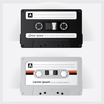 ヴィンテージカセットテープベクトル図