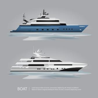 ベクトル図を移動する輸送船観光ヨット