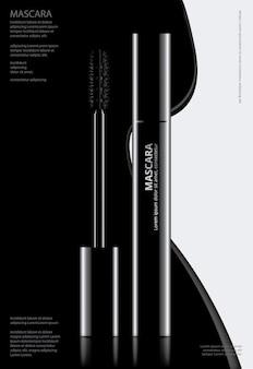 Плакат косметическая тушь с упаковкой векторная иллюстрация