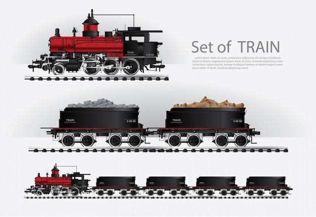 Грузовой поезд на железной дороге векторная иллюстрация