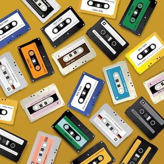 ビンテージレトロカセットテープの背景