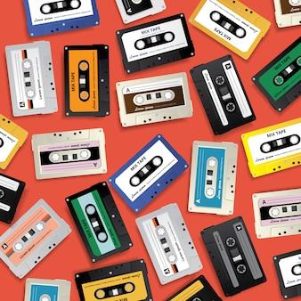 ビンテージレトロカセットテープパターンデザインテンプレートベクトルイラスト