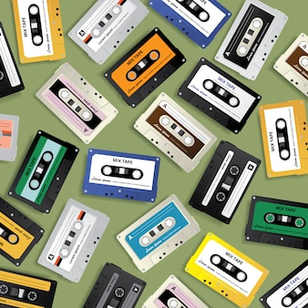 ビンテージレトロカセットテープパターン