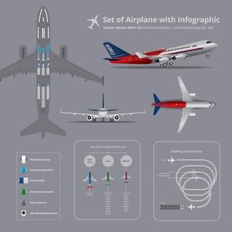 インフォグラフィックと飛行機のセット